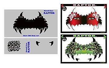 Face Painting Stencil - StencilEyes Raptor - Dinosaur Mask