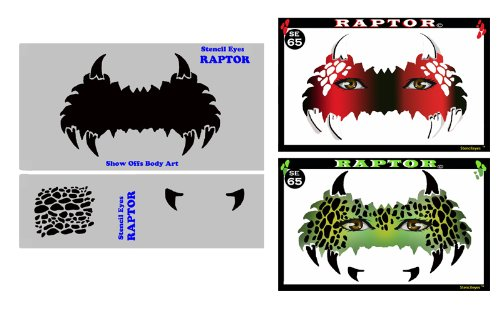 Face Painting Stencil - StencilEyes Raptor - Dinosaur Mask for $<!--$20.00-->