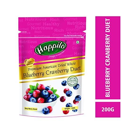 Happilo Premium Dried Whole Blueberry Cranberry Duet, 200g