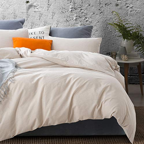 ATsense Duvet Cover Twin, 100% Washed Cotton, Bedding Duvet Cover Set, 3-Piece, Ultra Soft and Easy Care, Simple Style Farmhouse Bedding Set (Khaki Line J803-5)