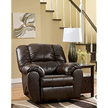 Ashley Furniture Signature Design - Dylan Rocker Recliner - Pull Tab Manual Reclining Sofa - Contemporary  sc 1 st  Amazon.com : ashley leather recliners - islam-shia.org