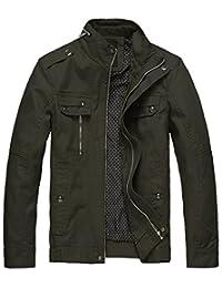 Wantdo Men's Cotton Stand Collar Lightweight Front Zip Jacket