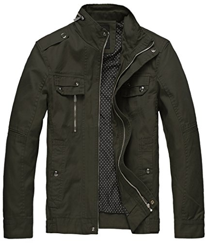 Wantdo Men's Cotton Stand Collar Lightweight Front Zip Jacket Army Green,US S
