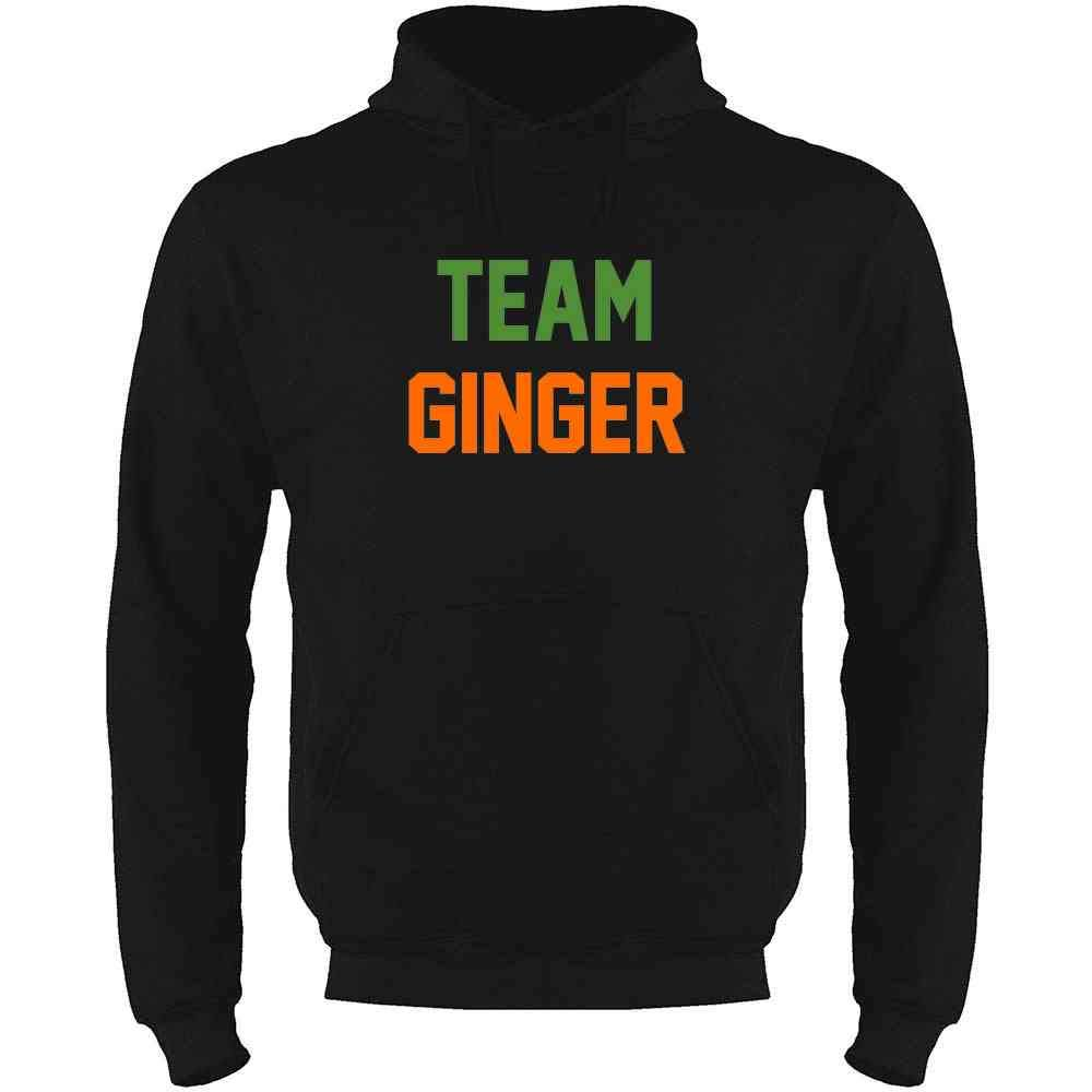 Pop Threads Team Ginger Funny St Patricks Day Funny Cute Redhead Mens Fleece Hoodie Sweatshirt