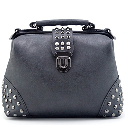 Bowling Purse - Mn&Sue Gothic Rivet Studded Vintage Doctor Style Purse Shoulder Cross Body Bag Women Top Handle Handbag