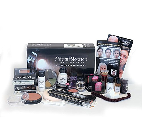 "Mehron StarBlend Cake Makeup – All-Pro Makeup Kit – Everything A Professional Makeup Artist Needs For Stage, Film, Video & Photography – Step-By-Step Instructions Included – For ""TV/Video"""