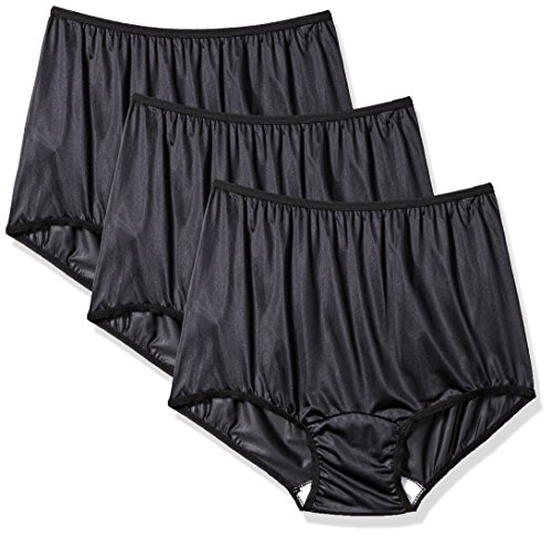 (Women's Black Classic Nylon Panty Size 7 (3-Pack))