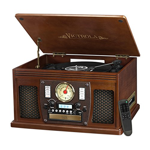 Victrola Navigator 8-in-1 Classic Bluetooth Record Player with USB Encoding and 3-speed Turntable (Usb Turntable Record)