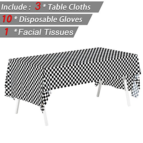 """Price comparison product image Pack of 3, 54"""" x 108"""" Black & White Checkered Flag Tablecloths Disposable Tablecovers Party Favor, Picnic Table Covers - Include 10 Pairs Plastic Disposable Gloves + 1 pack Facial Tissues"""