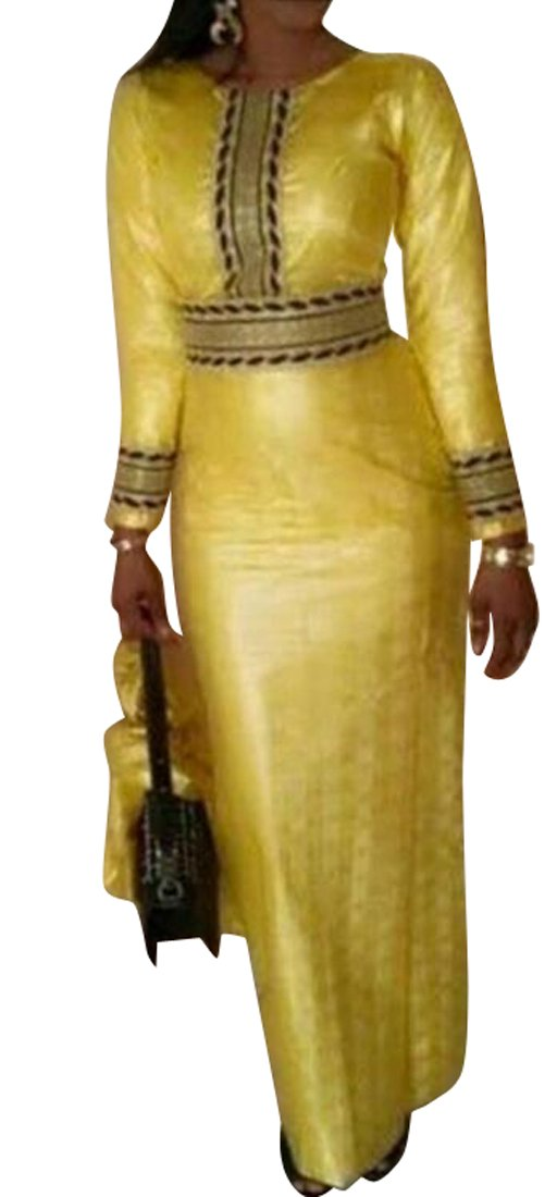 SYTX Womens Long Sleeve Fitted Waist African Prints Vintage Dashiki Maxi Dress Yellow L