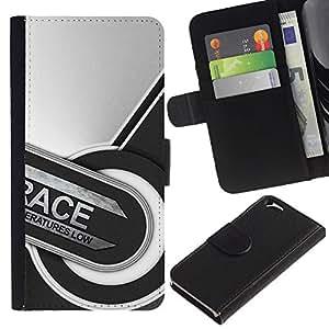 EJOY---Tirón de la caja Cartera de cuero con ranuras para tarjetas / Apple Iphone 6 / --Carrera Resumen