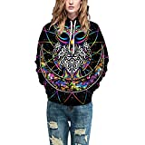 Samtree Unisex 3D Digital Print Sweatshirts,Hoodie Pocket Loose Fit Pullover Sweater(S/M,Black & Owl)