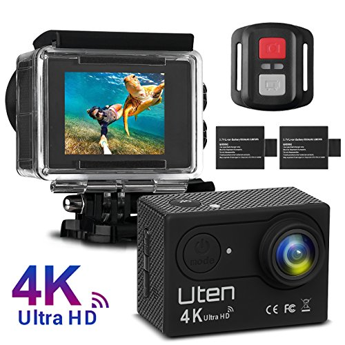 Action Camera Uten Upgraded 4K+Wifi Premium Waterproof Sports Outdoor Camera with 2.0 LTPS + 170° Ultra Wide-Angle Len + 2 x 1050mah Rechargeable Batteries + Super Abundant Accessories