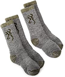 Browning Hosiery Unisex Child Kids Merino Wool Blend Sock, 2 Pair Pack (Olive, Small)