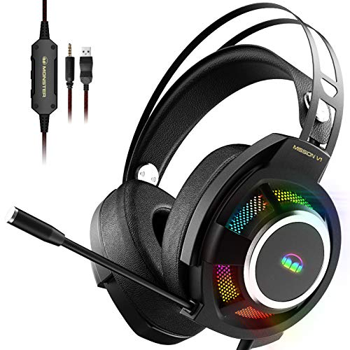 Monster Mission V1 PS5 Gaming Headset, Over-Ear Gaming Headset with Adjustable Angle Microphone, Colorful RGB Light, Adaptive Suspension Headband. Compatible with PC/Mac/PS4/PS5/Xbox One