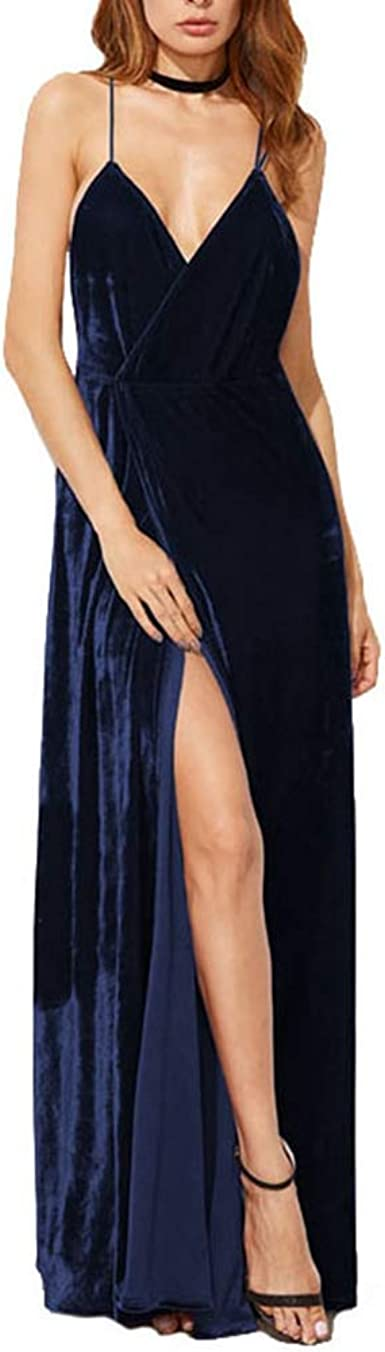 Women Sexy Backless Dress Deep V Neck Paillette Mesh