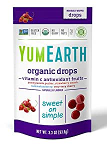 YumEarth Organic Vitamin C Drops, Anti-Oxifruits, 3.3 Ounce Pouches(Pack of 6) (Packaging May Vary)