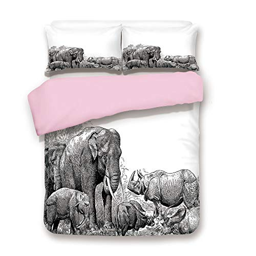 Pink Duvet Cover Set,Queen Size,Ancient Elephants Rhino Art Image Wild Safari Animals Vintage Style Print Home Decor,Decorative 3 Piece Bedding Set with 2 Pillow Sham,Best Gift For Girls Women,Black W