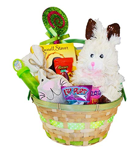 Easter Basket for Kids and Adults - Filled Easter Basket with Premium Solid Milk Chocolate Easter Bunny - Lots of Easter Basket Candy - Perfect Easter Gift Basket for Kids