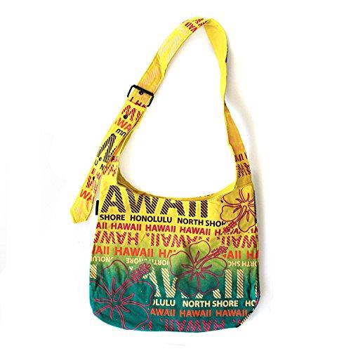 Hawaiian Print Cotton Adjustable Cross body Bag in Hawaii Hibiscus Print in Yellow