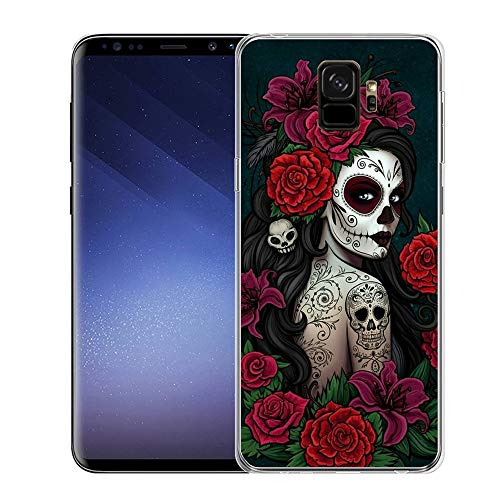Christy Mathisop Series sugar skull butterfly rose flower Pattern Samsung Galaxy S9 Plus Phone Case ,Clear Scratch-Resistant Shock Absorption Flexible Protective CoverSamsung Galaxy S9 Plus case Tatto