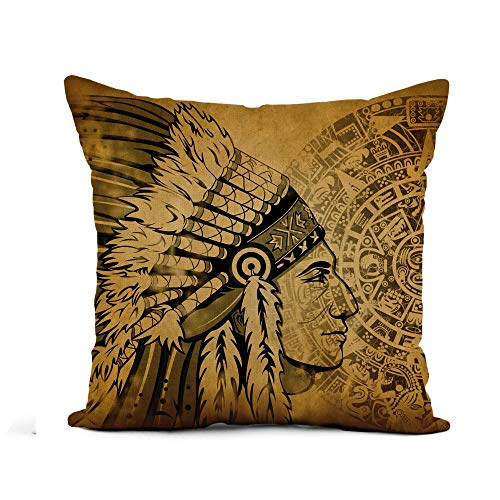 Awowee Flax Throw Pillow Cover Aztec Calendar and Face of The Man Traditional Headdresses 16x16 Inches Pillowcase Home Decor Square Cotton Linen Pillow Case Cushion Cover -