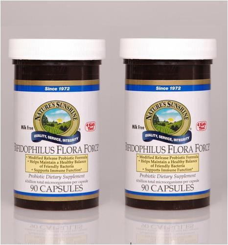 Système digestif Naturessunshine Bifidophilus Flora Force de soutien 90 gélules (pack de 2)