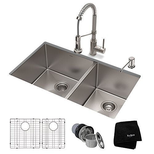 (KRAUS KHU103-33-1610-53SS Set with Standart PRO Sink and Bolden Commercial Pull Faucet in Stainless Steel Kitchen Sink & Faucet Combo, 33)