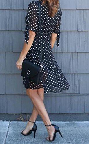 Neck Print Mid Elegant Half Dress Picture V Sleeve Wave As Women Coolred Point UtSznFXtq
