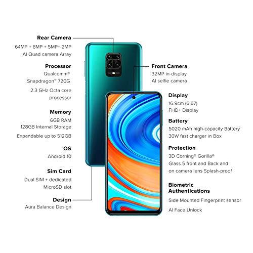 Redmi Note 9 Pro Max (Aurora Blue, 6GB RAM, 128GB Storage) – 64MP Quad Camera & Latest 8nm Snapdragon 720G & Alexa Hands…