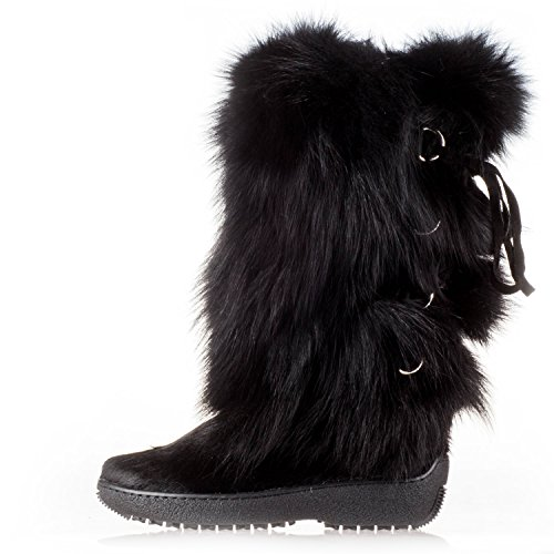 Fox Fur Winter Boot Snow Shoe, Black Cow/Fox, 36 ()