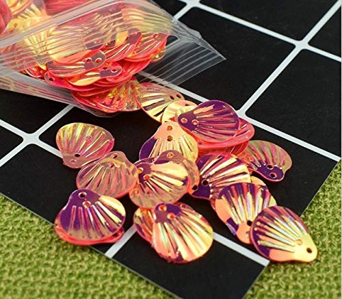 (HATCHMATIC 40 Colorful Shell Sequins for UV Epoxy Filler Resin Pendant Necklace Jewelry Making Craft DIY Accessories: Red)