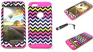 SHOCKPROOF HYBRID CELL PHONE COVER PROTECTOR FACEPLATE HARD CASE AND HOT PINK SKIN WITH STYLUS PEN. KOOL KASE ROCKER FOR APPLE IPHONE 6 PLUS CHEVRON MA-TE604 by mcsharks
