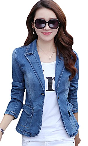 Womens Denim Jeans Jacket Blazer - Youhan Women's Slim Fitted Lapel Long Sleeve Denim Blazer Jacket Short Coat (Medium, Blue)
