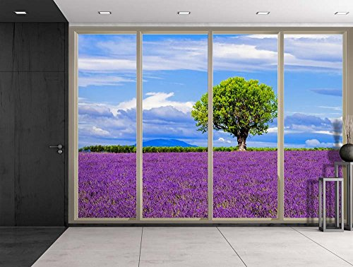 Lone Tree on a Purple Field of Flowers Viewed From Sliding Door Creative Wall Mural Peel and Stick Wallpaper