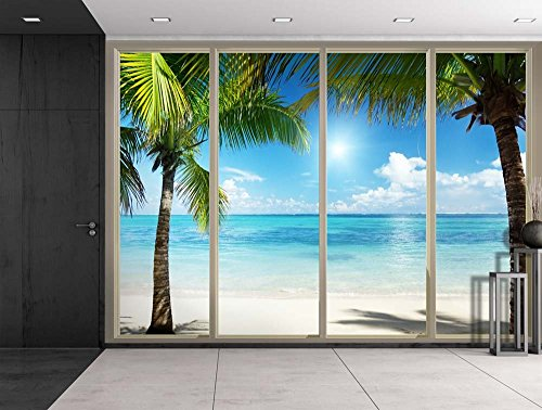 Palm Trees on an Island Framing the Blue Ocean Viewed From Sliding Door Creative Wall Mural Peel and Stick Wallpaper
