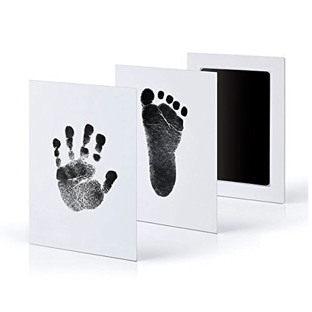 Gosear Newborn Baby Safe Non-Toxic Clean Touch Inkless Handprint Footprint Ink Pad with 2 Imprint Cards