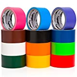 Multi Colored Duct Tape - Variety Pack -12 Colors - 10 yards x 2 inch rolls. Girls & Boys Kids Craft Duck Set, Fun DIY Art Kit - Rainbow: Black red orange white green yellow pink blue brown maroon yr