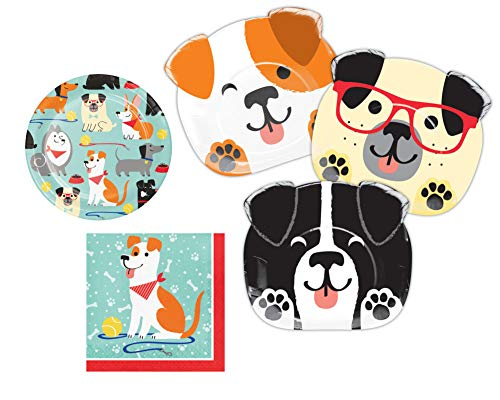 Puppy Dog Themed Party Supplies: Bundle Includes Shaped Dinner Plates, Dessert Plates, and Luncheon Napkins for 8 People -