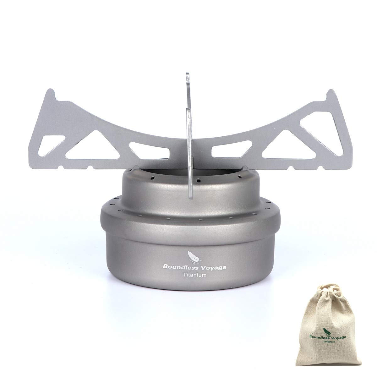 Ultralight Titanium Alcohol Stove with Bracket Spirit Burner with Stove Shelf and Carrying Pouch for Camping Hiking Backpacking BBQ[Ti1513B] Yilan Trade