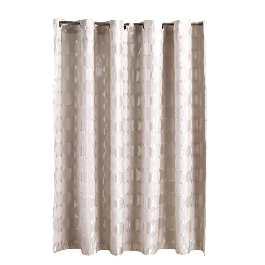 Thickening Shower Curtain,Large Ring Printing Decoration Extra Long Waterproof Mildew Proof Polyester Cut Off,Plastic Hanging Ring/Hook (Color : Beige, Size : 200180cm)