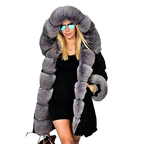 BRDTYSR Women Winter Jacket and Coat New Hooded Fur Collar Down Cotton Jakcet Gray S by BRDTYSR