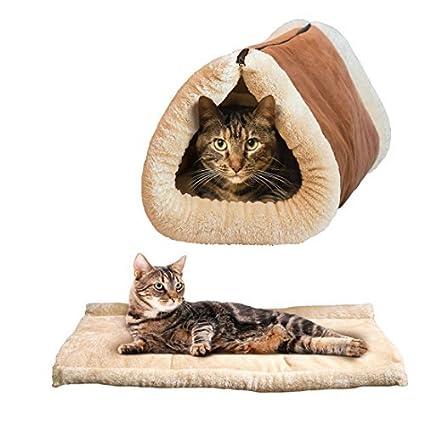 eDealMax 2-en-1 Gato Mat y cama Snooze túnel de Animales Gatos Perros