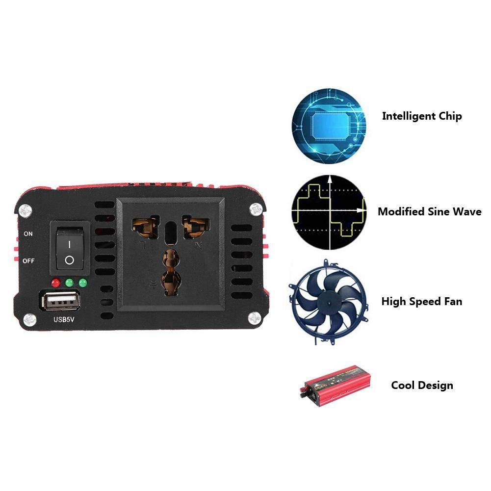 2000W Car Power Inverter USB Charger Converter Adapter Modified Sine Wave DC 12V//24V to AC 220V