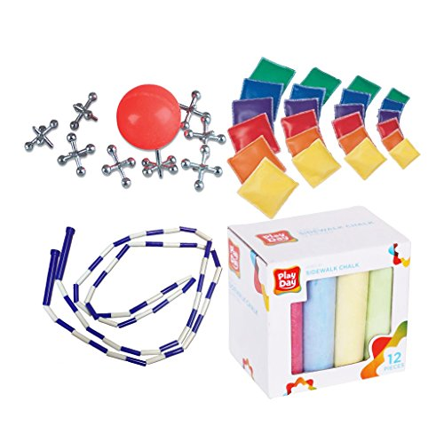 Assorted Novelty Classic Fun Party Games (Set of 4) includes Sidewalk Chalk for Hopscotch, Skip Rope, and Beanbag for Kids & Family includes FREE Jacks Set – Vintage Travel Gift!