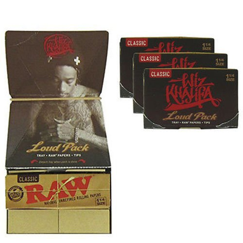 RAW Classic Artesano Wiz Khalifa Loud Pack 1 1/4 79mm Size Rolling Papers, Tray & Tips … (Tips Wiz Paper Khalifa)