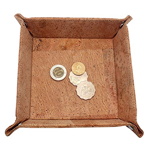 boshiho Valet Tray for Men, Natural Cork Jewelry Catchall Key Phone Coin Box Change Caddy Bedside Storage Box Eco-friendly Vegan Gift
