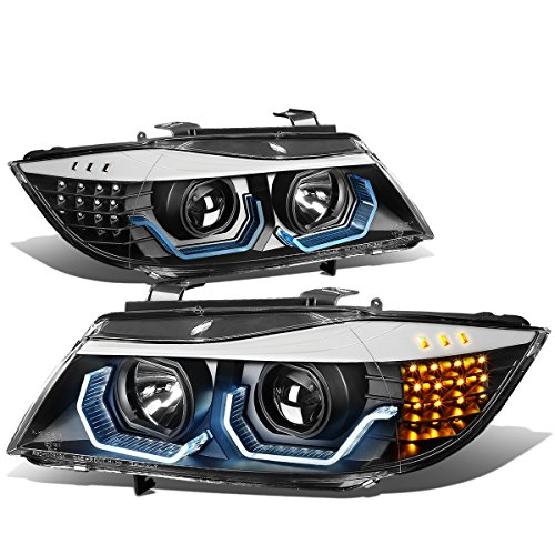 For 09-12 BMW 3-Serise E90 Sedan Black Housing Clear Lens LED 3D Crystal U-Halo Angle Eyes Headlights Bmw 320i Headlight Assembly