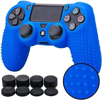 Pandaren® TACHONADO de silicona Fundas protectores de piel antideslizante para el PS4 Mando x 1 (azul) + FPS PRO thumb grip x 8: Amazon.es: Videojuegos