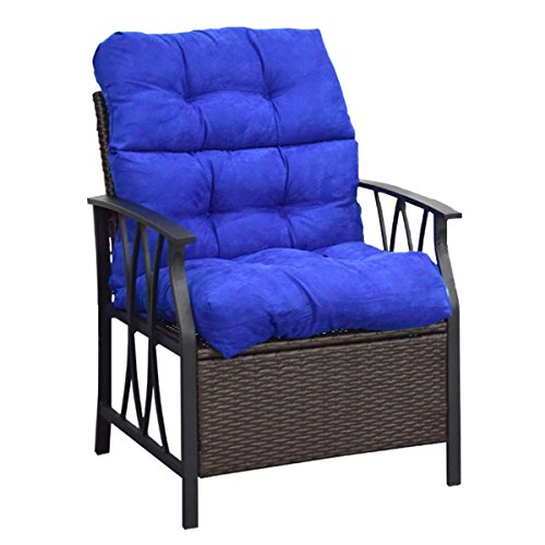 Giantex Patio High Back Chair Cushion Tufted Pillow Indoor Outdoor Spring/Summer Seasonal Swing Glider Seat Replacement Cushions (44'' Blue)